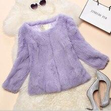 2016 Lady Real Rabbit Fur Jacket Coat Spring Autumn Women Genuine Fur Outerwear Coats Female Clothing