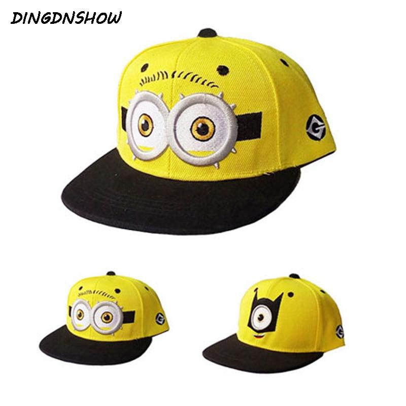 [DINGDNSHOW] 2019 Fashion Baseball Cap Kids Cartoon Hip Hop Cap Lovely Minions Cotton Summer Cap For Boys And Girls