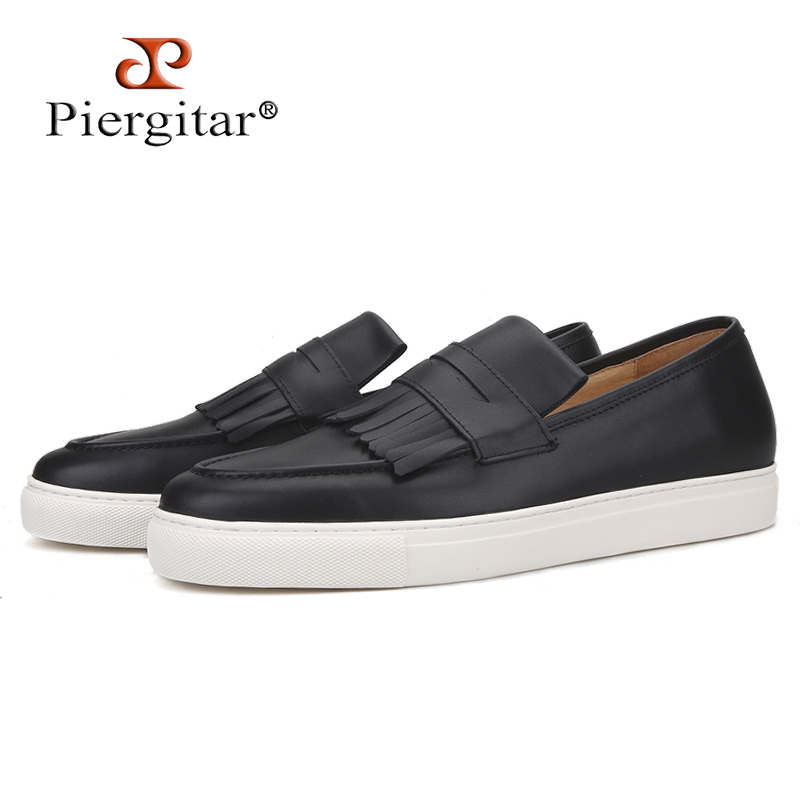 Piergitar 2019 Handcrafted Black Colors Genuine Leather Men Sneakers White Bottom Men's Casual Shoes Leather Insole Men Loafers