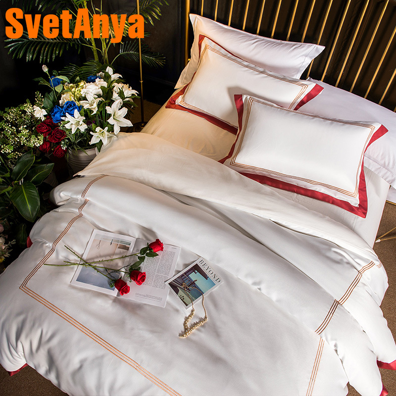 Svetanya White Embroidered Bedding sets Queen King size Sheet Pillowcases Duvet Cover set Silk Polyester Cotton Fabric BedlinenSvetanya White Embroidered Bedding sets Queen King size Sheet Pillowcases Duvet Cover set Silk Polyester Cotton Fabric Bedlinen