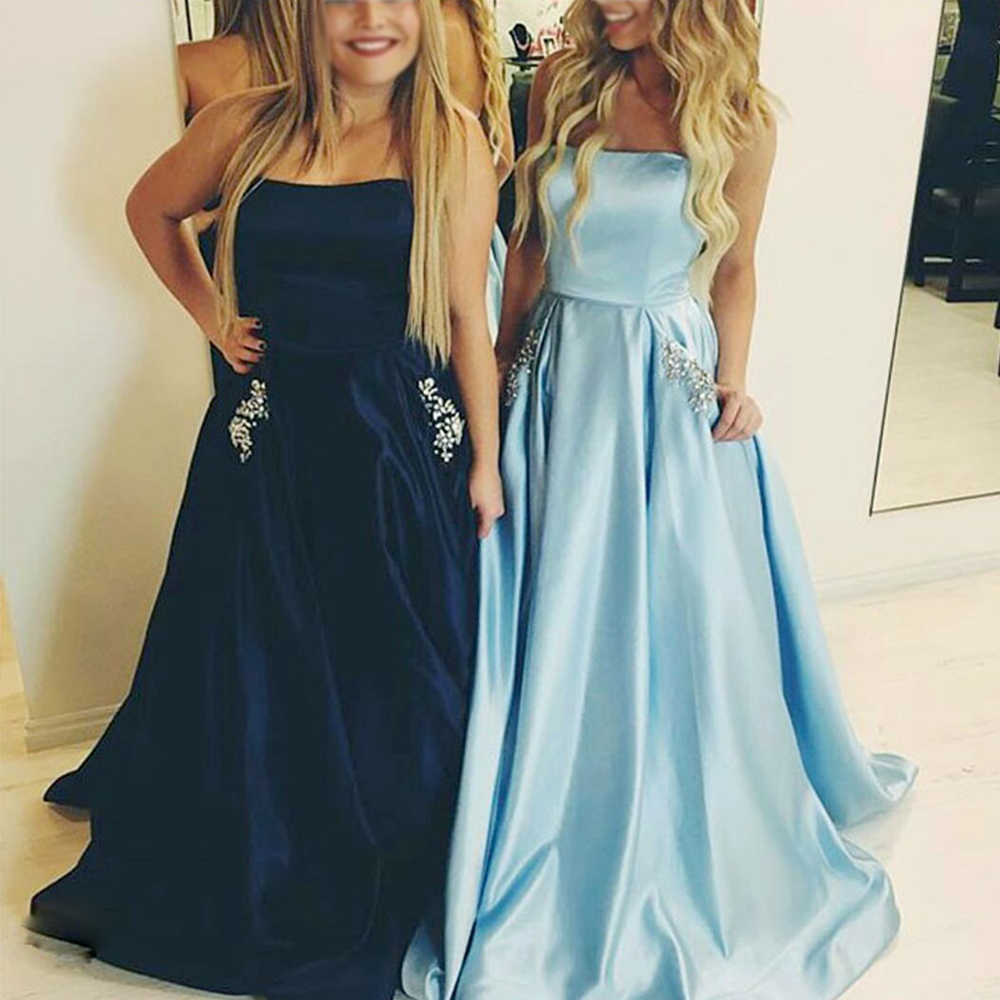 2017 Hot Style Long Matter Satin A line Prom Dress with Strapless ...