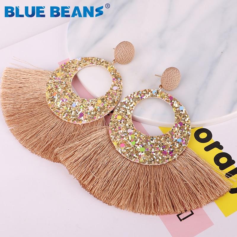 Tassel Earrings Shining Fashion For Women Boho Water Drop Earring Handmade Big Drop Dangle Round Jewelry Party gift statement 18