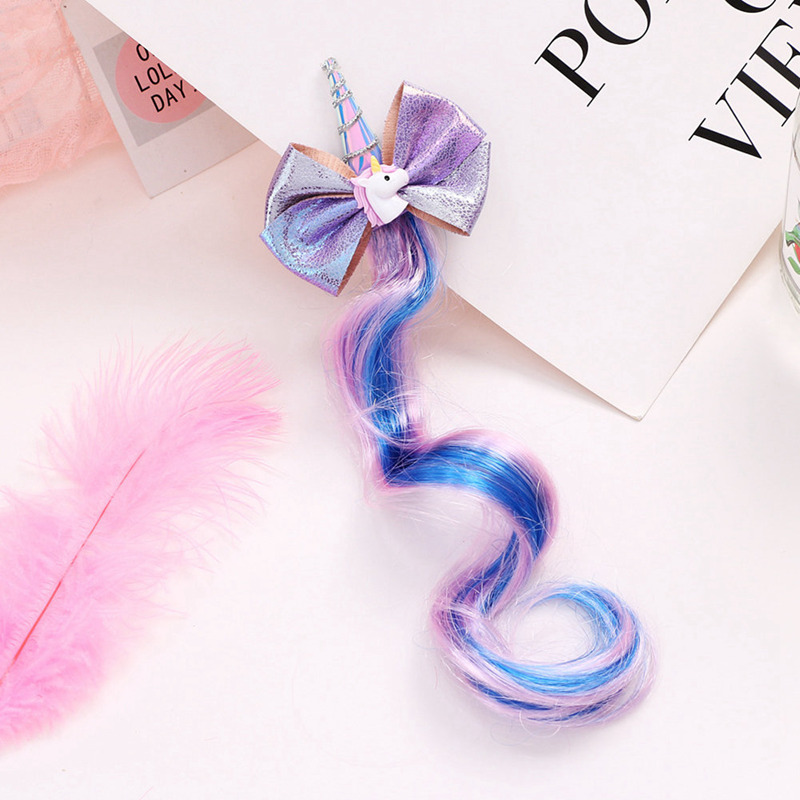 1pc New Unicorn Hairbands Kids Cute Bow Hairgrips Shining Sequin Wig Hairpins Girls Christmas Gift Party Headband Hair Clip Elegant Appearance