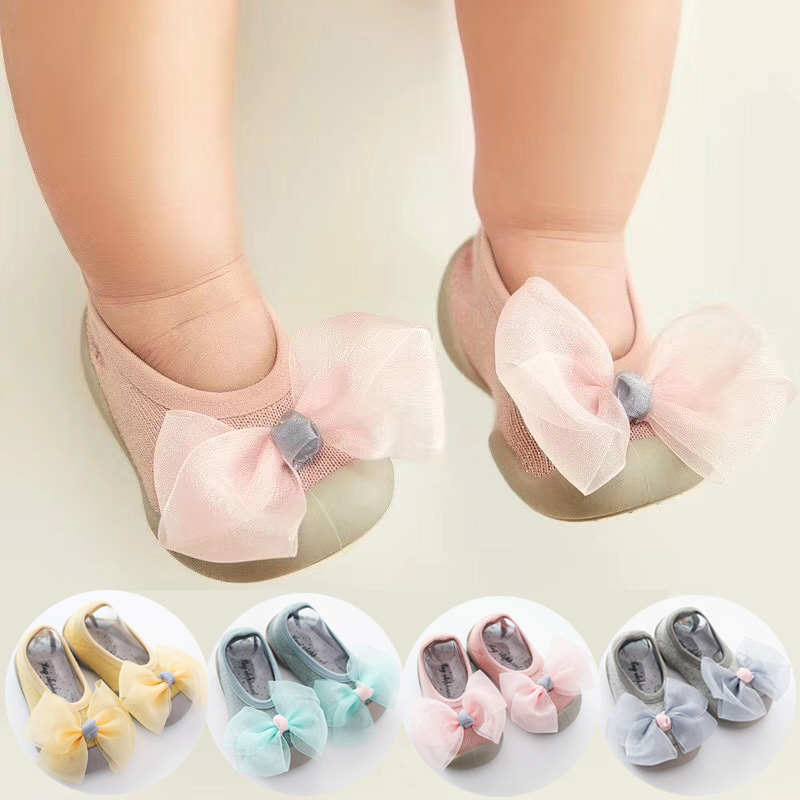 First Shoes Baby Walkers Baby Girl Shoes Slippers Soft Rubber Sole Glitter Baby Shoes Newborn Baby Booties Bow Sock Shoe Fashion