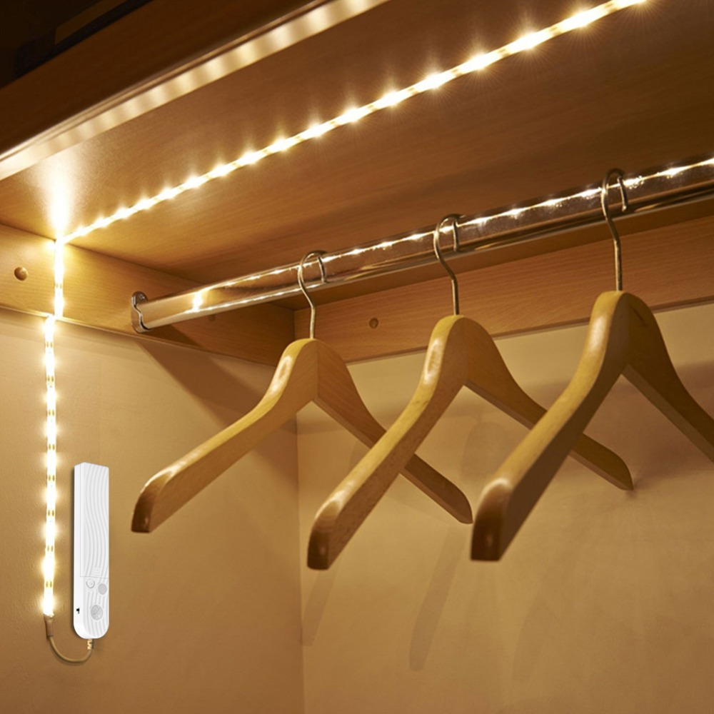 1 M 2 M 3 M sensor de movimiento inalámbrico LED luz nocturna cama armario escaleras luz USB LED tira lámpara 5 V para luz de fondo de TV