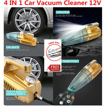 Multi Function 4 IN 1 Car-Styling Car Vacuum Cleaner 12V Car Air Compressor Tire Pressure Gague With LED Light Got Car Sticker