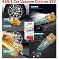 Multifunción 4 EN 1 Car-Styling Car Vacuum Cleaner 12 V Coche Tire Gague Presión del Compresor de aire Con Luz LED Tiene Etiqueta Engomada Del Coche