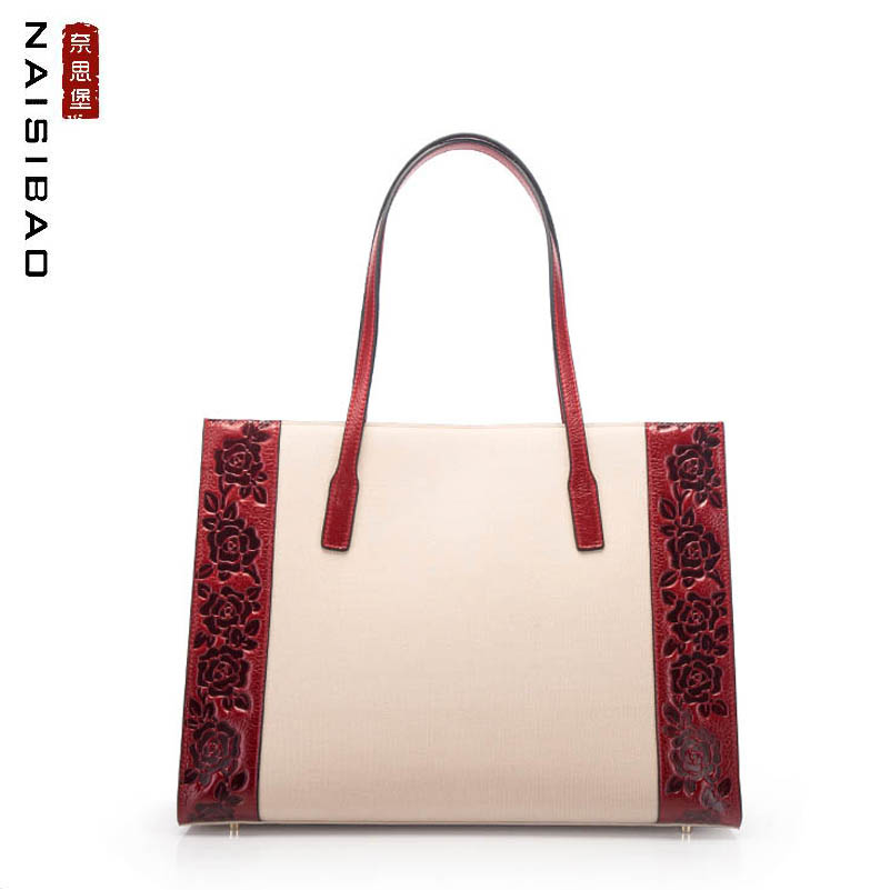 NAISIBAO high quality fashion female big bag cloth handbag cotton and linen spell leather liner bag Chinese style embossed shopp цена 2017