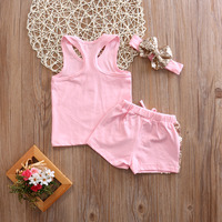 Newborn Baby Girls Clothing Sets Cotton Sequins Sleeveless Tank AND Shorts Summer Gold Letter Girl Sets