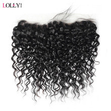 Lolly Hair Peruvian Water Wave Frontal 100% Human Hair Frontal Non Remy 13x4 inch Ear to Ear Lace Frontal Closure 130% Density