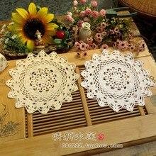 ZAKKA Handmade 30cm Round flower Lace Doilies Crochet Coaster Table Place mats cup mat 10pcs/Lot