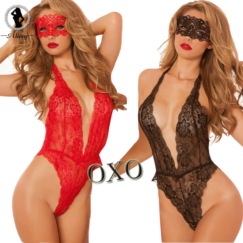 2017 valentine's day sexy lingerie hot Red black lace deep_v neck teddy sexy erotic underwear lingerie lenceria sexy costumes