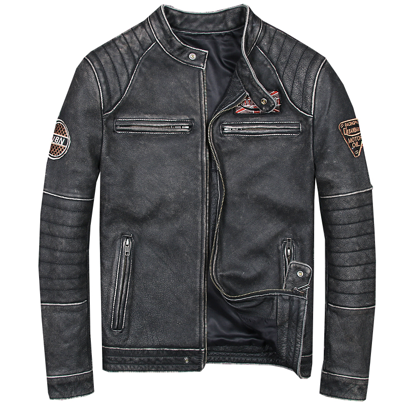 2018 Vintage Black Men Slim Fit Bikers Leather Jacket Plus Size 6XL Genuine Thick Cowhide Short Motorcycle Coat FREE SHIPPING