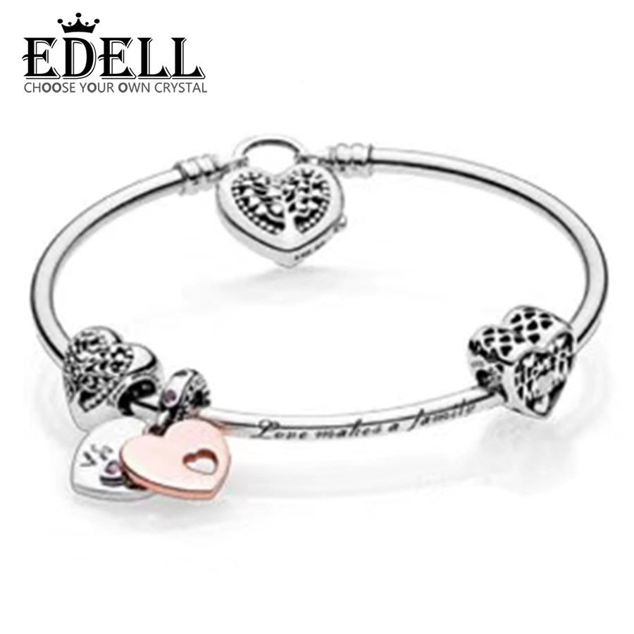 EDELL 100% 925 Sterling Silver 1:1 Authentic Charm Of Life Tree And Affection Bracelet Suit Suit DIY Gift Women Original JewelryEDELL 100% 925 Sterling Silver 1:1 Authentic Charm Of Life Tree And Affection Bracelet Suit Suit DIY Gift Women Original Jewelry