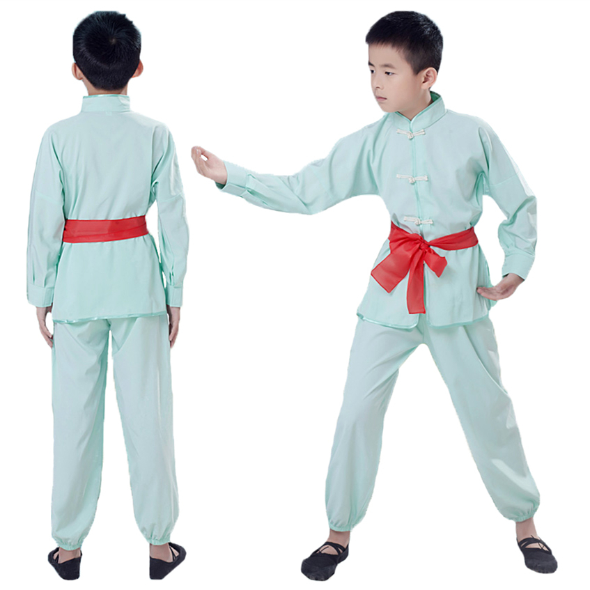 2018 Boys Girls Kungfu Suits Taichi Fist Performence Uniform Practice Morning Exercise Long Sleeve Costume Suits
