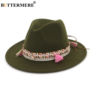 Image 4 - BUTTERMERE נשים פדורה כובע צמר חאקי ג אז כובעי נקבה לאומי מזדמן גדול אפס מקום בציר סתיו קלאסי הרגיש כובע וכובע 2020
