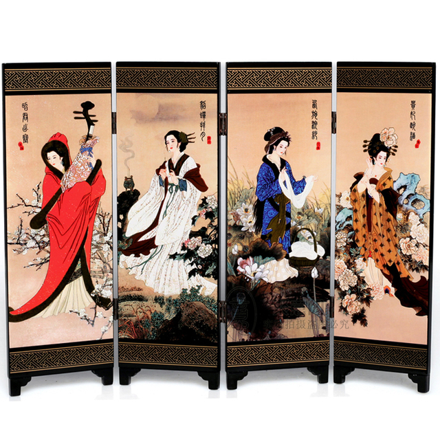 Decoration Arts Crafts Girl Gifts Get Married 4 Fan Small Screen Lacquer Home Furnishing Office