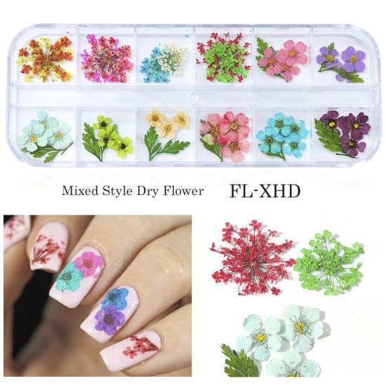 Сухоцветы лист ногтей украшения натуральный наклейка в виде цветка 3D сухой для маникюра ногтей наклейки ювелирные изделия УФ Гель-лак Маникюр TRFL-1 - Цвет: FL-XHD