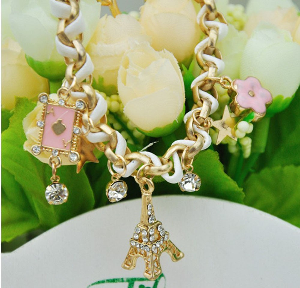 Vienkim New Hot sell  Fashion Jewelry Multielement Gold Chain Leather Rope Crystal Handmade Bracelet Eiffel Tower Star Pendant 15