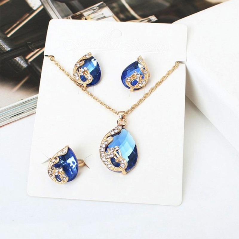 Luxury Winter New Style Water Drop Crystal Jewelry Sets Charm Trendy Pendants Necklaces Earrings For Anniversary Gift VP552