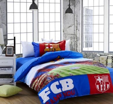 100 Cotton Kids Boys Barcelona Football Queen King Fans Bedding Sets Team Quilt Cover Bed