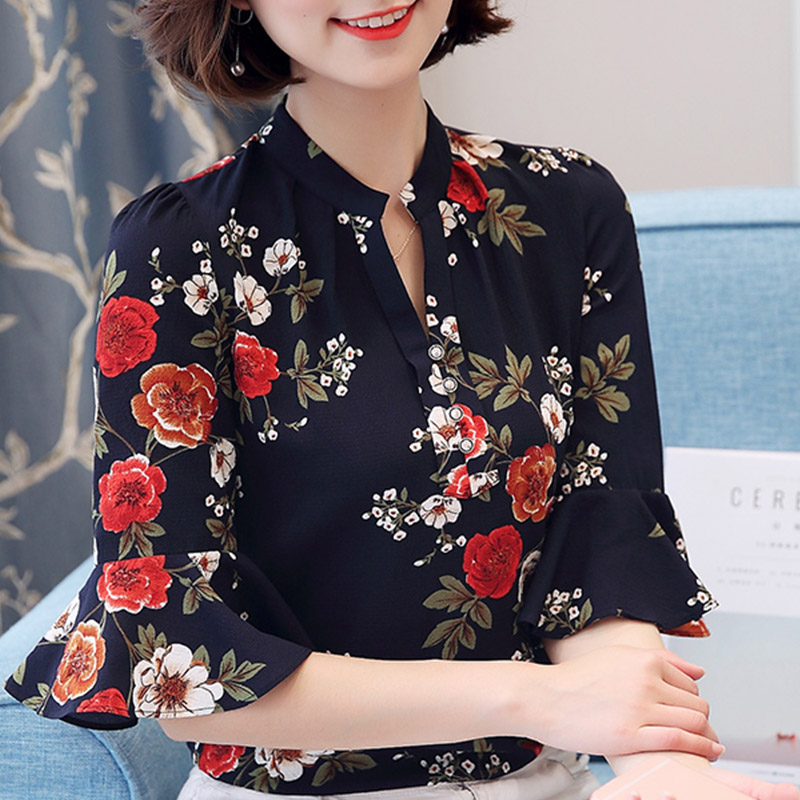 Summer Plus Size Chiffon Flare Sleeve Flowers Print Shirts Female White&Black Women Thin Blouses Stand Collar Basic Office Tops