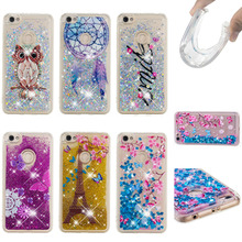 LUCKBUY SMILE OWL Glitter Dynamic Liquid Quicksand For Coque Xiaomi Redmi Note 5A Soft TPU Back Cover Prime