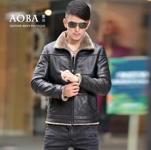 Black brown winter motorcycle leather jacket man short fur coats mens jackets jaqueta de couro masculino plus thicken velvet 4XL