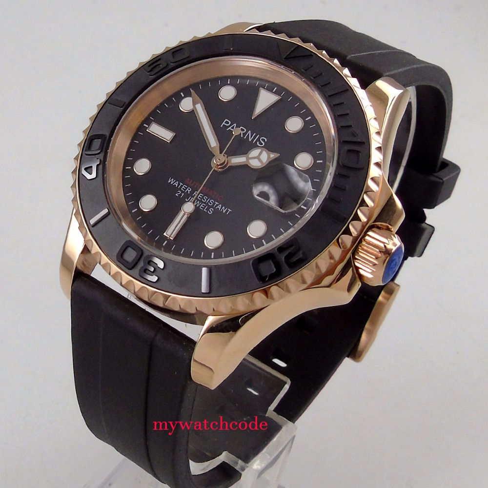 41mm Parnis black dial Sapphire glass rose golden plated case Ceramic bezel miyota automatic mens watch