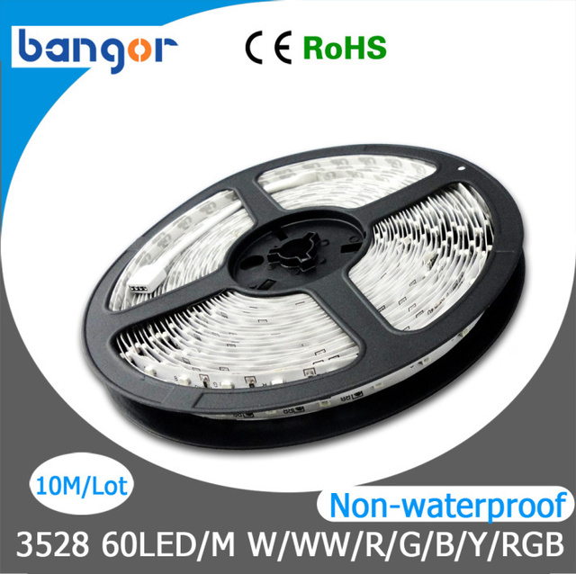 12V 3528SMD Non-waterproof 60LEDs/M LED Flexible Strip Light 10M/Lot 5M/Roll Free Shipping
