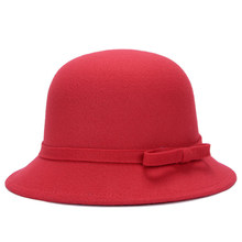 HT1218 Nova Moda Mulheres Chapéus de Inverno Sólida Lã Simples Sentiu Marca  Arco Elegante Chapéu de Feltro Cloche Chapéus-coco R.. a3ba6a2920c
