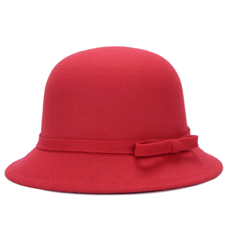 HT1218 Nova Moda Mulheres Chapéus de Inverno Sólida Lã Simples Sentiu Marca  Arco Elegante Chapéu de Feltro Cloche Chapéus-coco Retro Feminino Balde  chapéus 648ddb228af