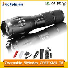 1Set XML-T6 3000lm Adjustable Led Flashlight Led Torch Car Charger+Battery Charger+1*18650 Rechargeable Battery + Holster z81