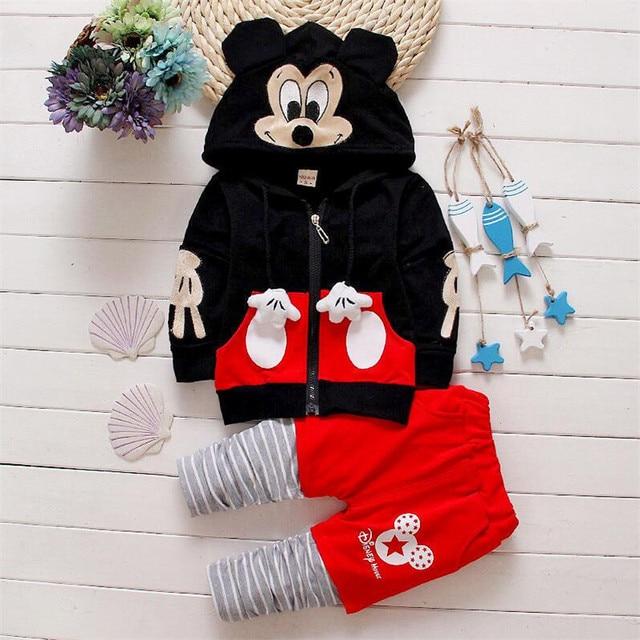 Новые Младенцы одежда для новорожденных мальчиков девочек костюмы мультфильм рубашка + брюки 2 шт. дети мальчик одежды Детская одежда установить с с капюшоном