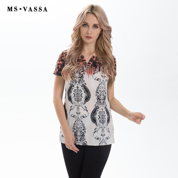 T-shirt loose tees O-neck with opening short sleeve flower printed