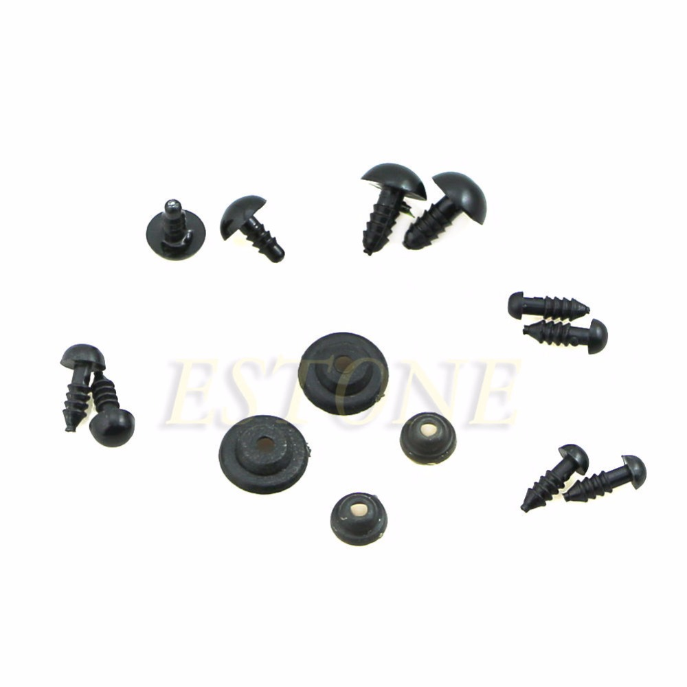 6-12mm Black Plastic Safety Eyes Noses with Washers for Puppet Bear Doll Animal Stuffed Toys DIY Sewing Craft 100pcs 1 Box