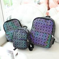 Maelove Luminous Backpack Diamond Lattice Bag Travel Geometric Women Fashion Bag Teenage Girl School Noctilucent Backpack