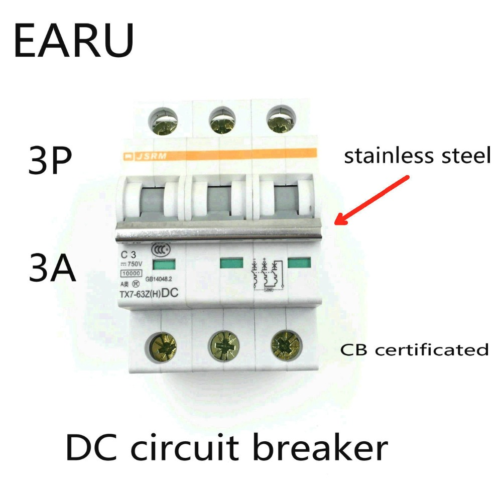 3P 3A DC 750V DC Circuit Breaker MCB for PV Solar Energy Photovoltaic System Battery C curve CB Certificated Din Rail Mounted