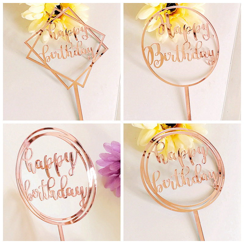 2019 New Rose Gold Acrylic Cake Topper Mirror Happy ...