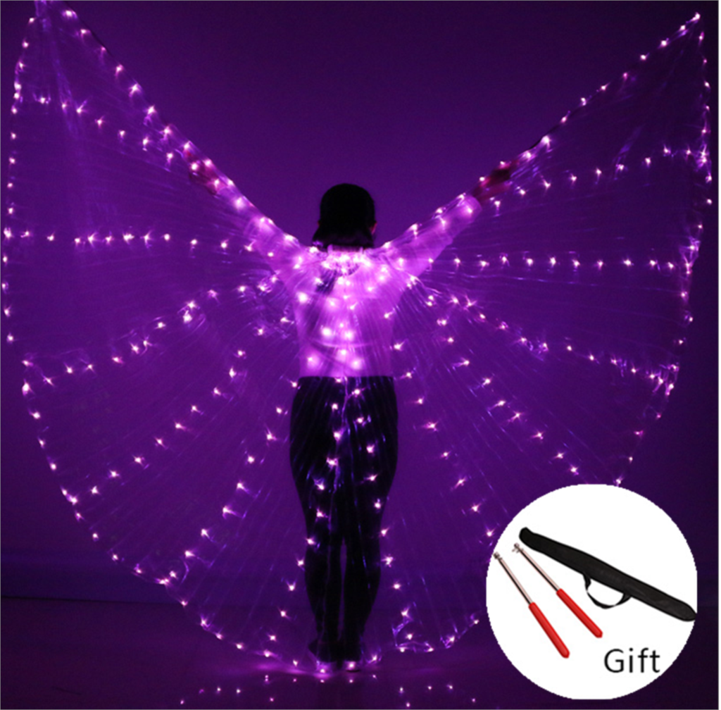 Belly Dance Colorful LED Isis Wings Stage Performance Props Belly Dancing Wings Props With Stick Belly Dancing Accessory