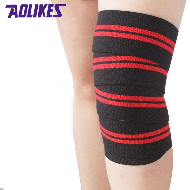 Prix pour AOLIKES 2 pièces 2 M * 8 CM powerlifting élastique bandage jambe compression veau genou wraps soutien Sport Sécurité vendas par deporte