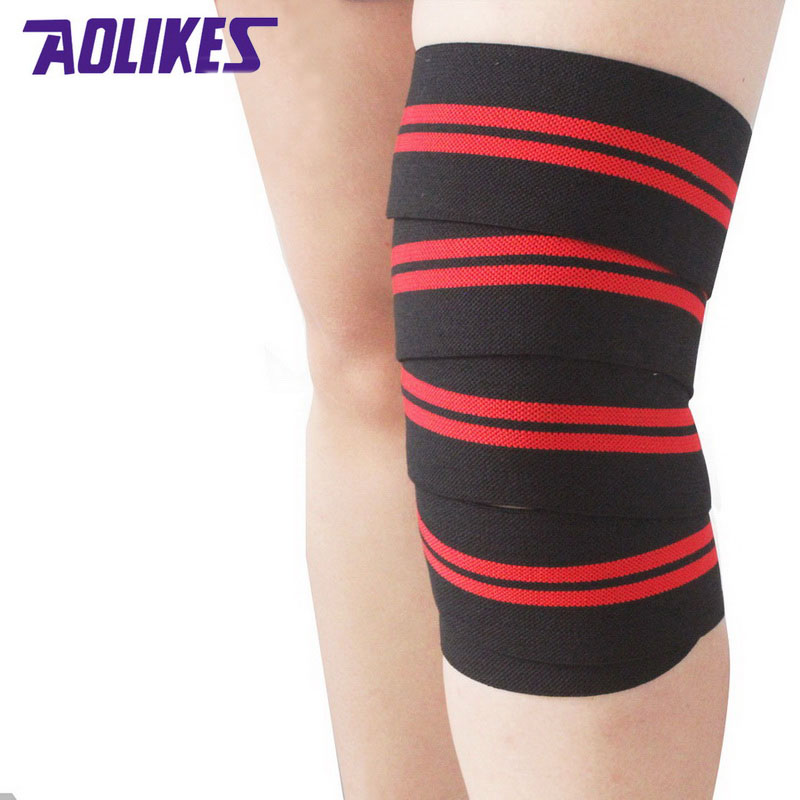 AOLIKES 2 buc 2M * 8CM Powerlifting elastic bandaj picior de compresie vițel suport genunchiere wraps Sports Safety vendas para deporte