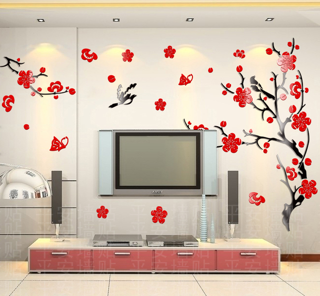 Wholesale ikea style crystal 2mm thick plum flower 3d wall sticker wall decor wallpaper home decor