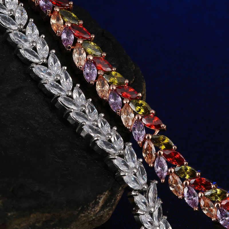 CARSINEL Luxus Mona Lisa Rose Gold farbe Armband für Frauen Blätter Form AAA CZ Zirkon Armbänder Mode Schmuck Br0124