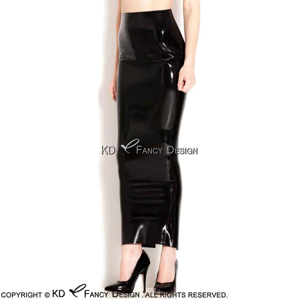 4b5be2447f8c6 Black Sexy Long Latex Skirts Heel Length Slit At Back Rubber Skirt Bottoms  DQ-0024