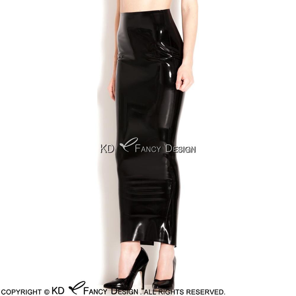 Noir Sexy longue Latex jupes longueur du talon fente à l'arrière en caoutchouc jupe bas DQ-0024