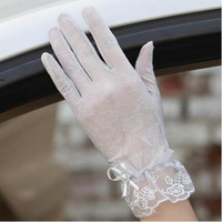 Korean version of the spring and summer ice touch screen sunscreen gloves women short section lace driving anti-skid arm sleeve