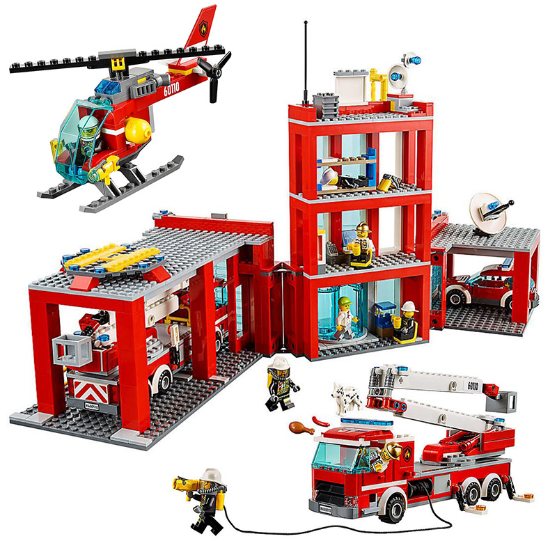 LEPIN 02052 City Series Fire Station 60110 Fire Engine Helicopter Building Blocks 1029pcs Bricks Toys Gift For Children 1712 city swat series military fighter policeman building bricks compatible lepin city toys for children
