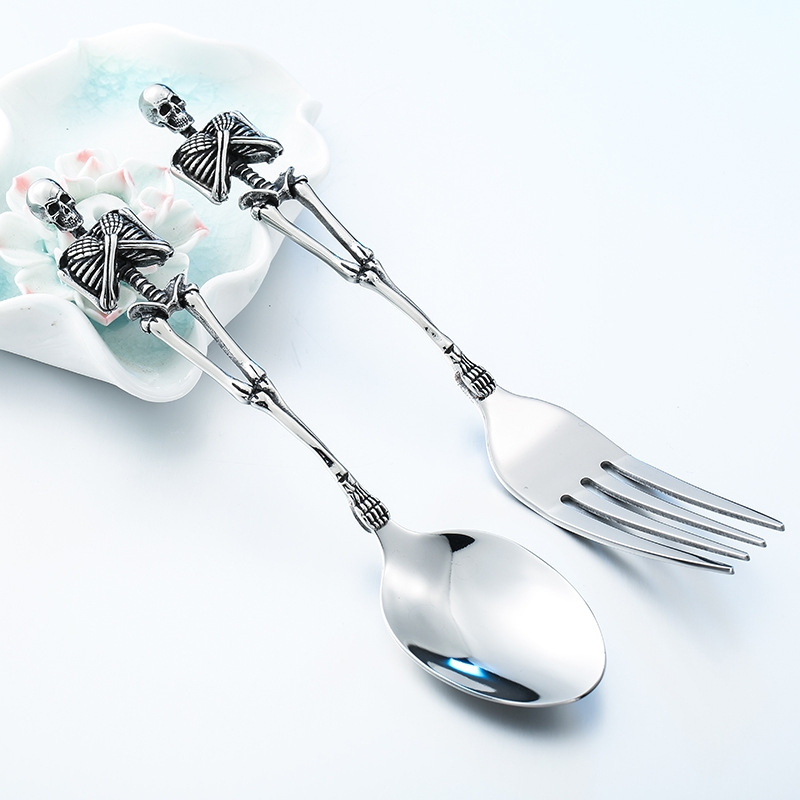 Multifunction Stainless Steel Skull Shape Long Handle Spoon Dessert Cake Fork Ice Cream Tea Spoons Tableware Kitchen Tools