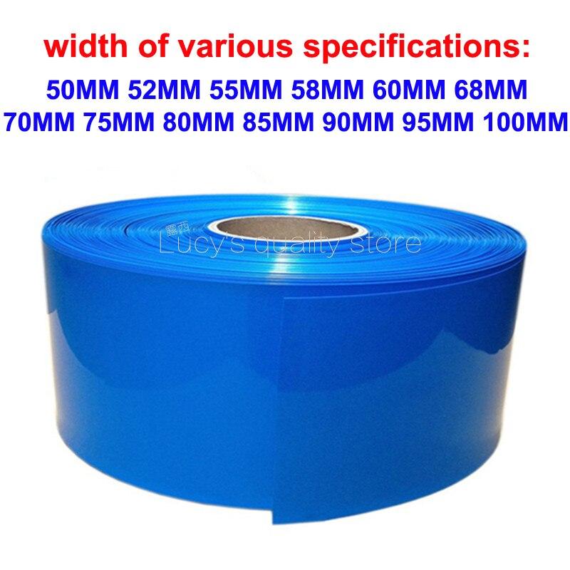 1 m Pvc termoencolhíveis tubo 18650 bateria de lítio pacote de isolamento retardante de chamas azul manga filme termoencolhível ambiental